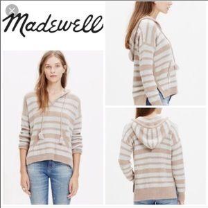 Madewell Hooded Tan and Cream Sweater